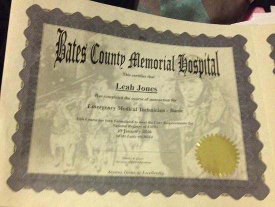 Leah's EMT certificate