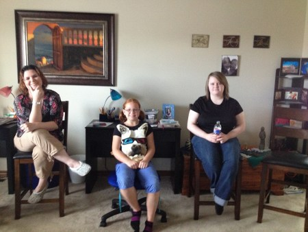 Heather, Violet, & Leah at little party
