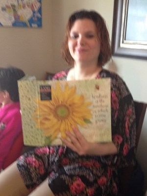 Heather's sunflower recipe book gift from Kay