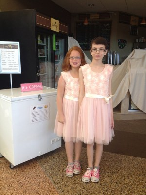 Violet & Annabelle in their pink dresses