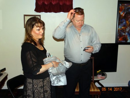 Me giving Ray his gift - sterling silver cuff links