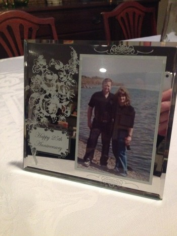silver anniversary picture frame; Ray & me in Israel
