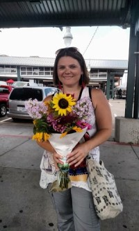 Heather with her sunflowers
