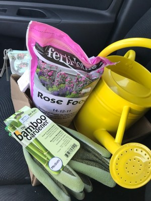 Rose food, green bamboo garden gloves, and friendly, bright yellow watering can