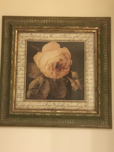 Pretty rose painting in our hotel room