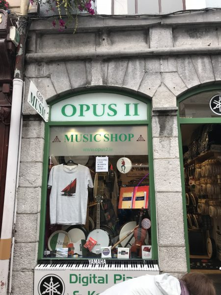 Music store in Galway where we stopped