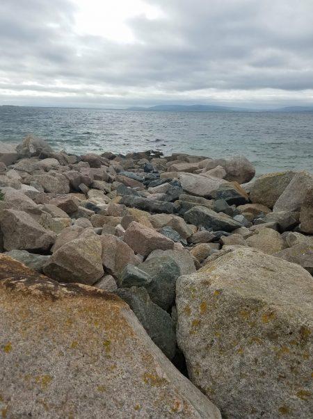 big rocks on Galway beach