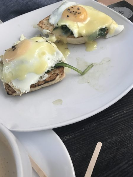 Leah's egg Florentine at airport