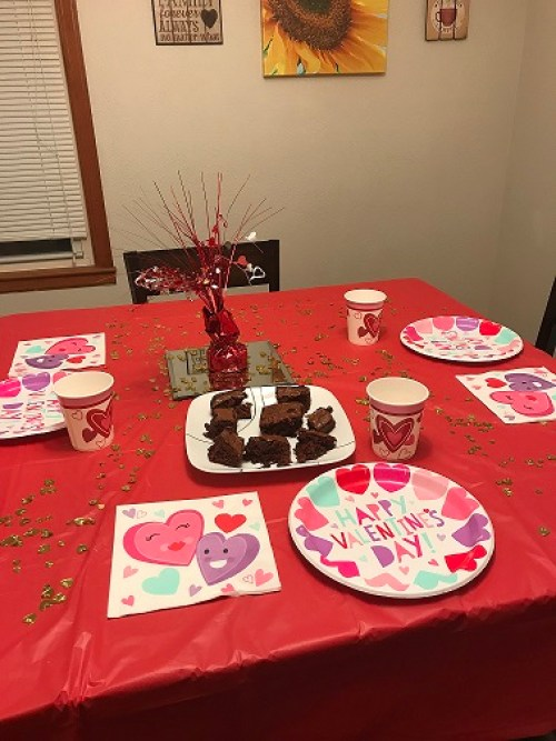 Brownies & cute table decorations for my family