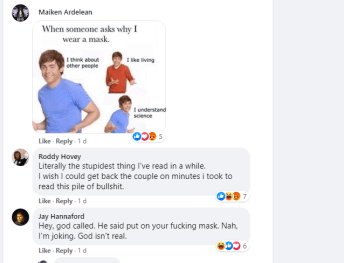 Facebook comments to Sherri's mask post