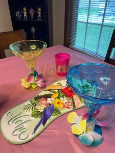 Heather's big flip flop decoration and colored drink glasses