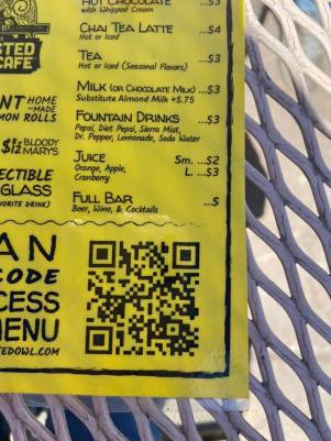 code that you scan with your phone for the menu