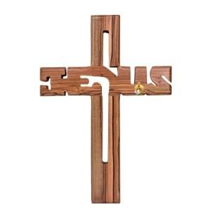 Olive Wood Jesus Cross Large from Bethlehem