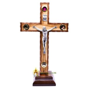 Latin Olive Wood Mahogany Crucifix on Base Small from Bethlehem