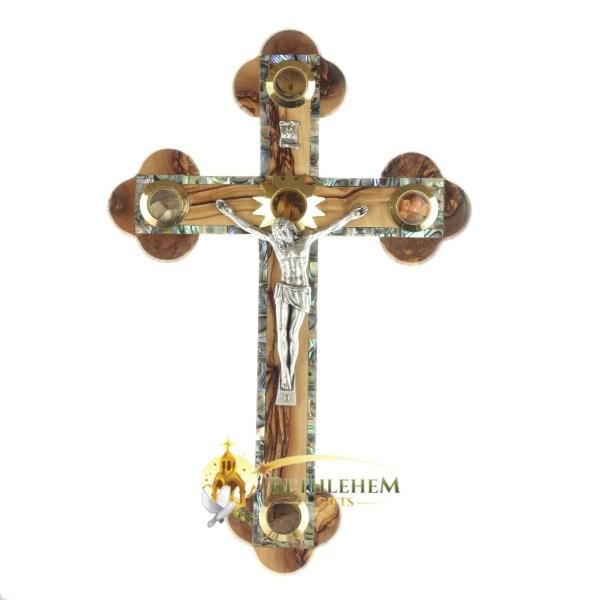 Olive Wood Abalone Medium Budded Crucifix with Five Holy Samples from Bethlehem
