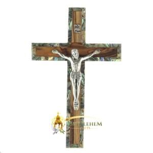 Olive Wood and Abalone Small Latin Crucifix from Bethlehem