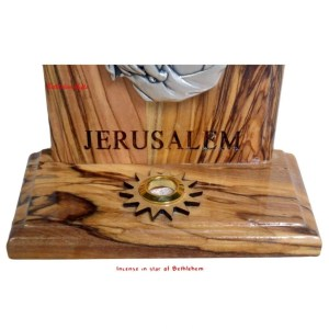 OLive wood Holy Family Standing Plaque with Holy Sample from Bethlehem