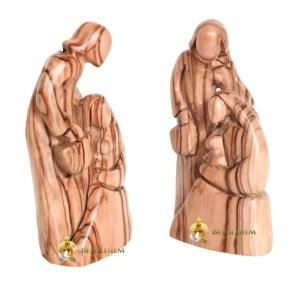 Olive Wood Holy Family with Lantern from Bethlehem