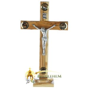 Latin Olive Wood Large Crucifix with Holy Samples on Base from Bethlehem
