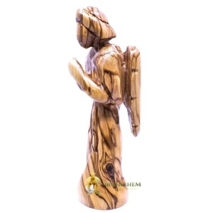 Olive Wood Standing Wooden Large Praying Angel from Bethlehem