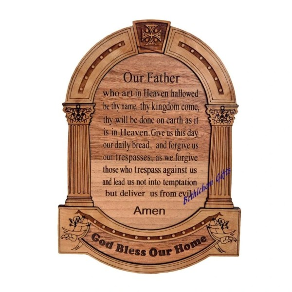 The Lord's Prayer with God Bless Our Home plaque, made from olive wood in Bethlehem
