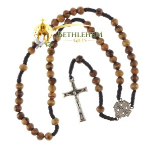 Olive wood corded rosary from Bethlehem