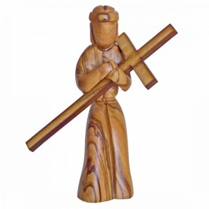 Jesus Holding Cross Plain Small