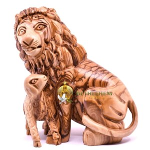 Olive Wood Lion and Lamb from Bethlehem