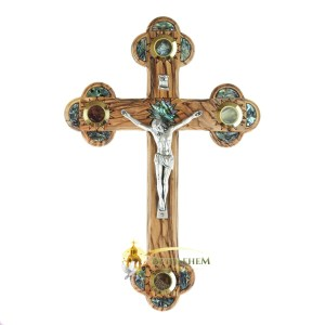 Medium Olive Wood Abalone Budded Crucifix with Four Holy Samples from Bethlehem