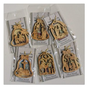 Olive wood Christmas tree ornament from the Holy land