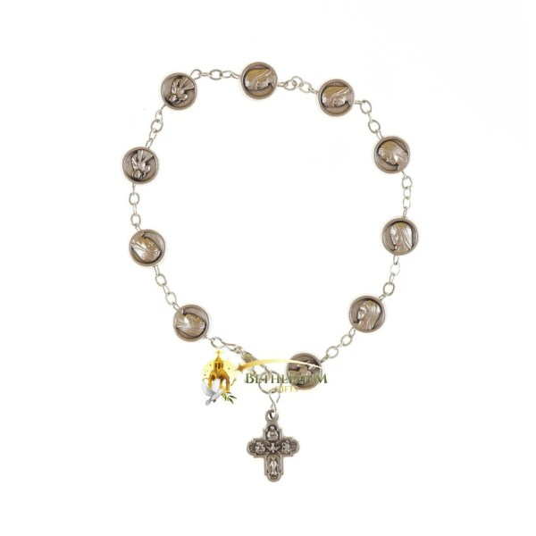 Our Lady Queen of Heaven and sacred heart of Jesus silver beads Bracelet