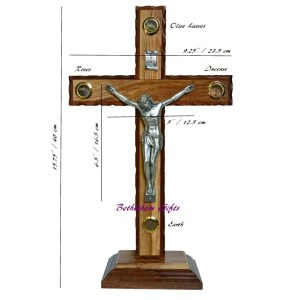 Latin Olive Wood Mahogany Crucifix on Base Medium-size, with four holy samples, made in Bethlehem