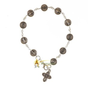 Miraculous Medal Bracelet, with silver chain and cross