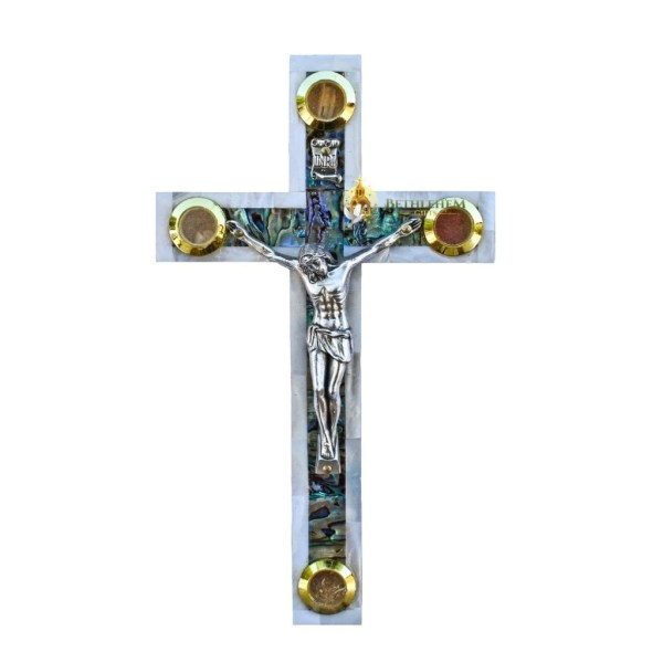Olive wood Mother of Pearl Small Latin Crucifix with Four Holy Samples, made in Bethlehem