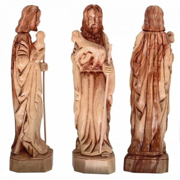 Hand crafted Olive Wood Medium Good Shepherd statue, from Bethlehem