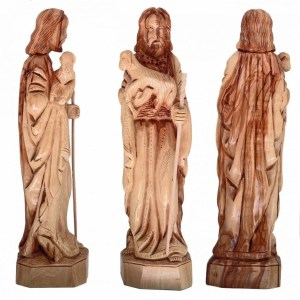 Hand crafted Olive Wood Medium Good Shepherd statue, from Bethlehem