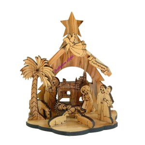 Nativity scene from Bethlehem. Wooden nativity from the Holy land