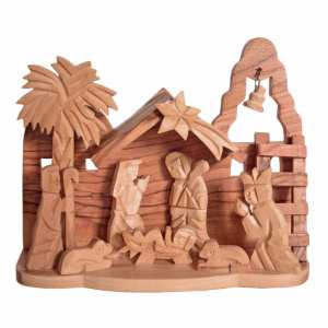 Hand crafted nativity scene from Bethlehem. Wooden nativity from the Holy land