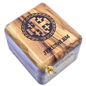 Olive Wood Rosary Box with Jerusalem Cross from Jerusalem