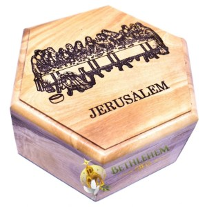 Olive Wood Rosary Box with the Last Supper from Jerusalem