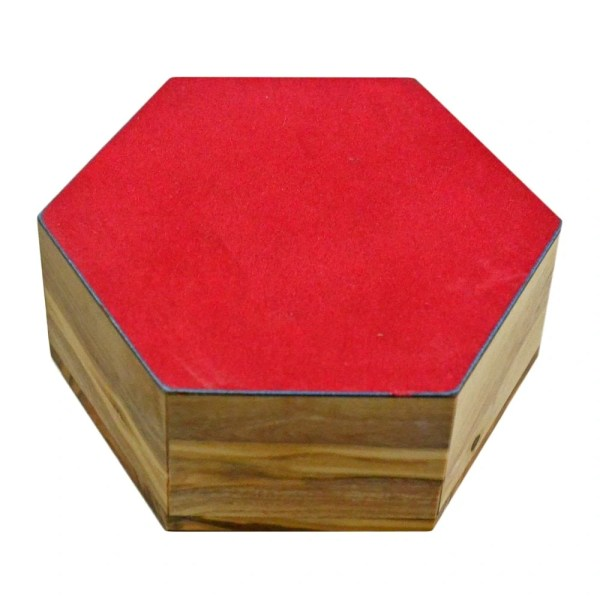 Olive Wood Hexagon Rosary Box with Holy Face of Jesus and Jerusalem Cross from Jerusalem