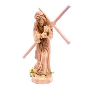 Olive Wood Jesus Holding His Cross from Bethlehem