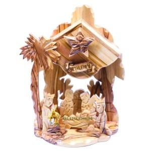 Olive Wood Music Box Nativity from Bethlehem