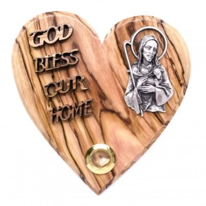 Olive Wood God Bless Our Home Heart-Good Shepherd