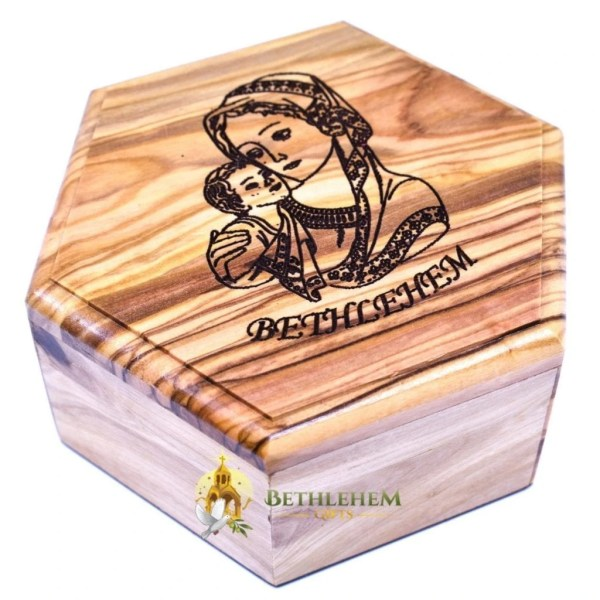 Olive Wood Rosary Box with Blessed Mother and Child from Bethlehem