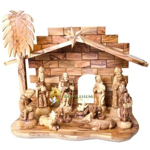 Olive wood Nativity Manger and figurines, hand crafted in Bethlehem