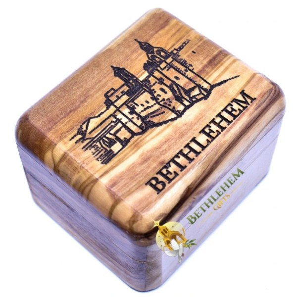 Olive wood rosary box from Bethlehem