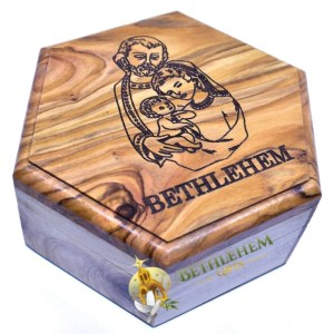 Olive Wood Rosary Box with Holy Family from Bethlehem
