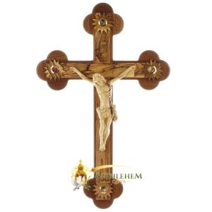 Large Budded Olive Wood Mahogany Crucifix Wooden Corpus from Bethlehem