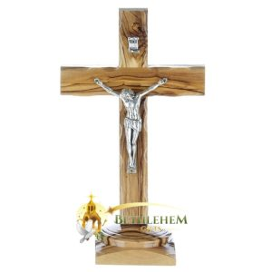 Latin Olive Wood Small Crucifix on Base from Bethlehem